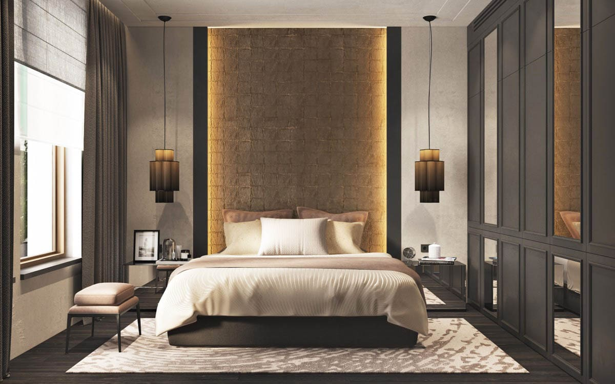 central-lit-panel-dangling-pendants-modern-bedroom-interior-accent-walls