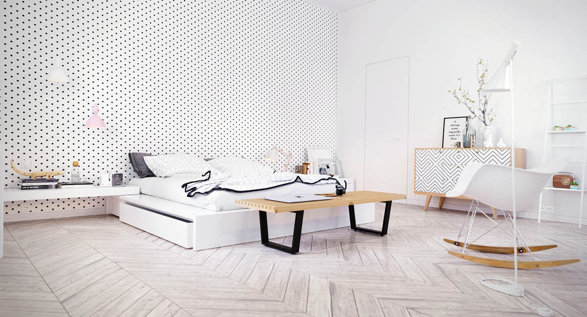 spotted-wall-white-feature-wall-ideas