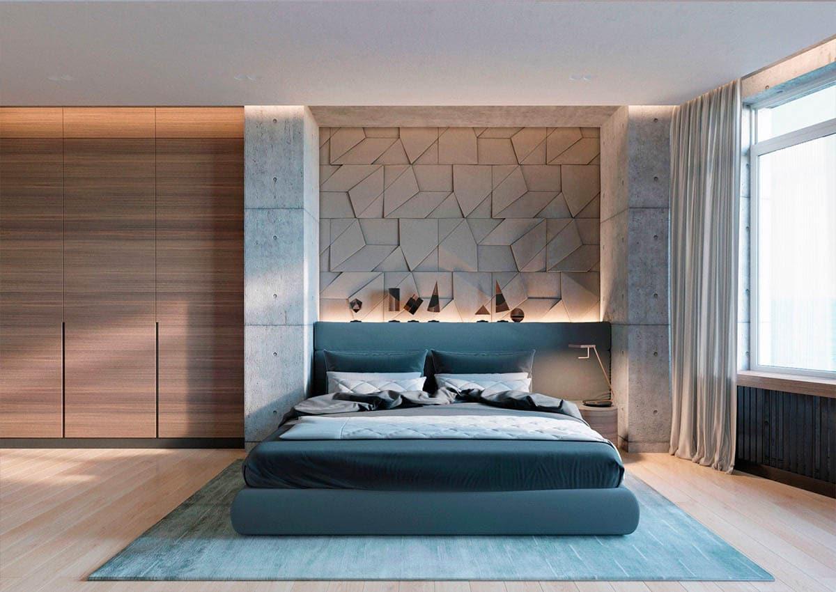 turquoise-futon-bed-geometric-concrete-accent-wall